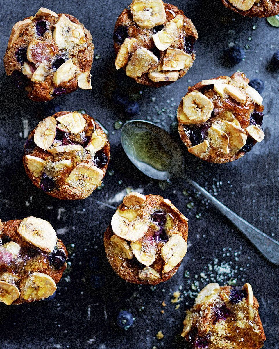 Fruity Breakfast Blueberry and Banana Muffins