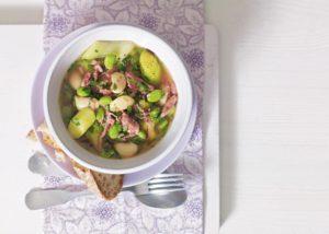 Ham hock, leek and broad bean casserole