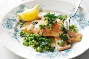 Salmon with Broad Beans & Parsley Oil