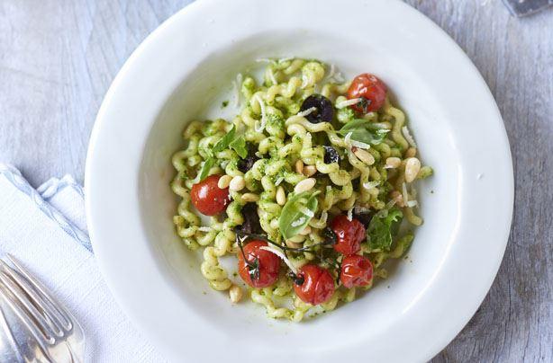 Zesty 4-veg pesto pasta